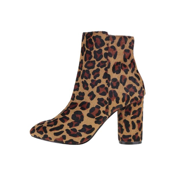 Botine maro Miss Selfridge Dee cu animal print