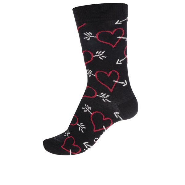 Șosete negre cu imprimeu inimi Happy Socks Arrow & Heart de la Happy Socks in categoria Dresuri si șosete