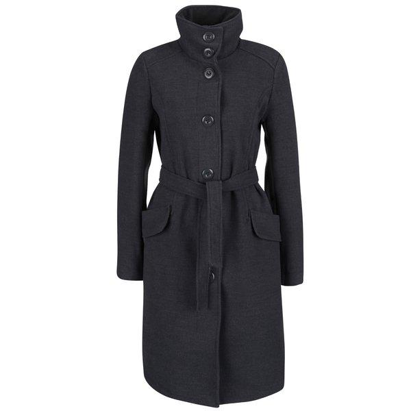 Palton gri cu amestec de lana si guler inalt - Madonna