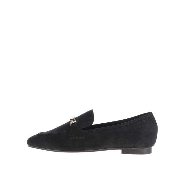 Pantofi loafer negri din piele intoarsa cu detaliu metalic Pieces Penrose