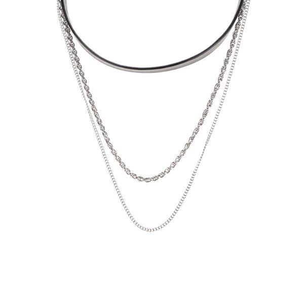 Colier multiplu argintiu cu negru Pieces Sille