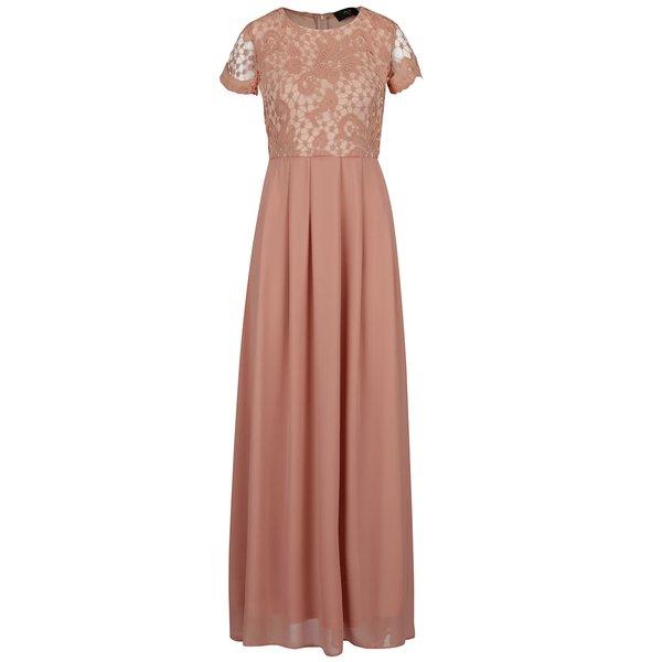 Rochie roz lungă AX Paris cu detaliu din dantelă de la AX Paris in categoria rochii de seară