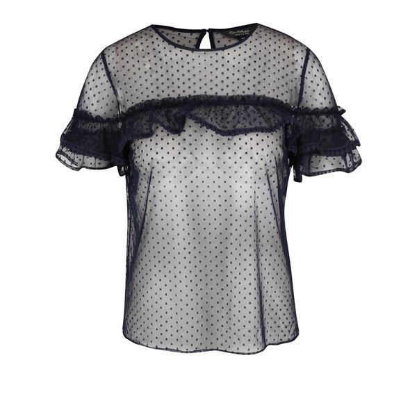 Bluza transparenta neagra cu buline si volane Miss Selfridge