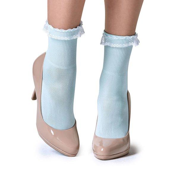 Șosete bleu Gipsy cu dantelă în partea superioară