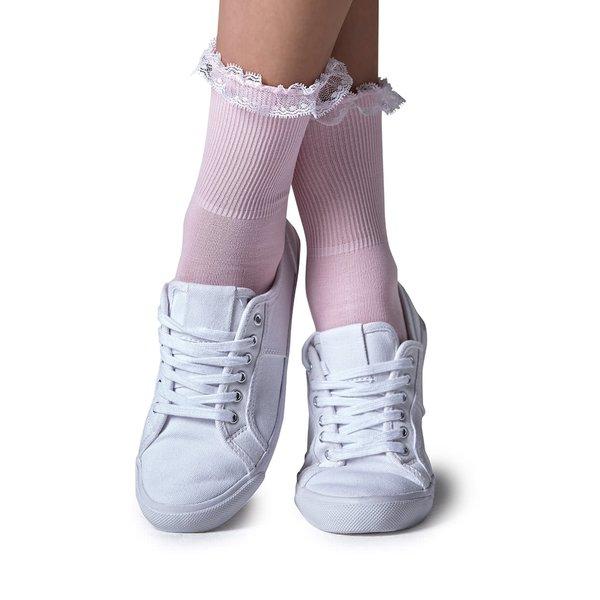 Șosete roz pal Gipsy cu dantelă în partea superioară de la Gipsy in categoria Dresuri si șosete