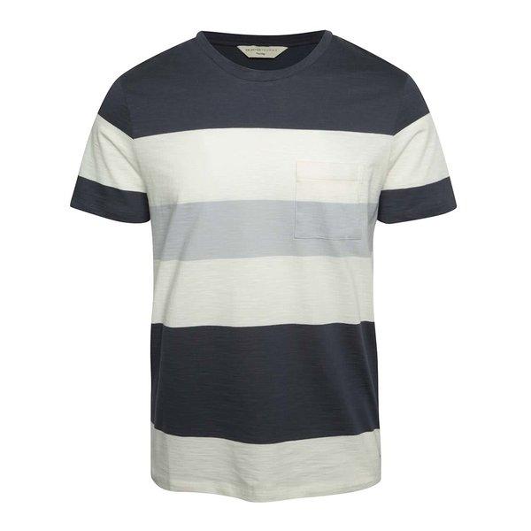 Tricou crem & albastru închis Selected Homme Rune din bumbac cu model în dungi de la Selected Homme in categoria tricouri
