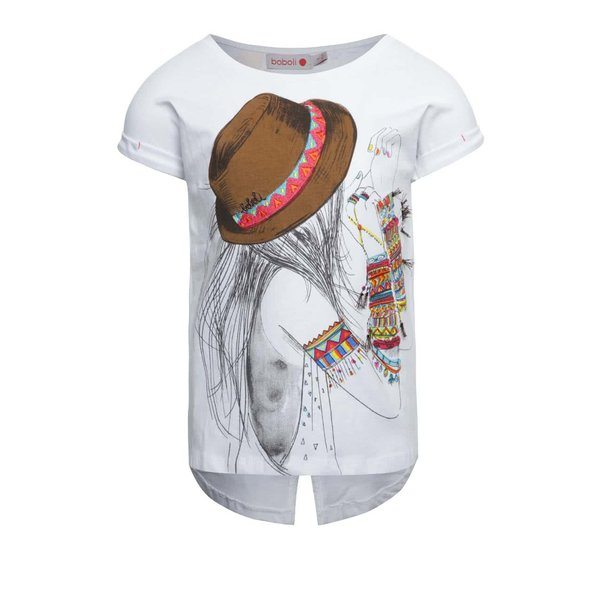 Tricou alb Boboli cu print pentru fete
