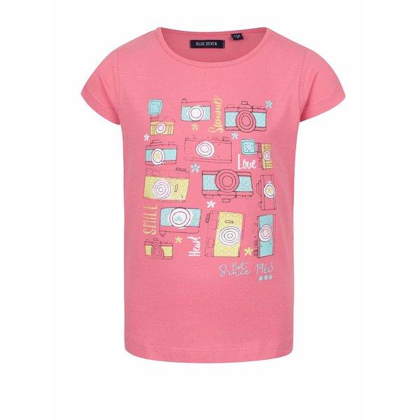 Tricou roz Blue Seven cu print pentru fete