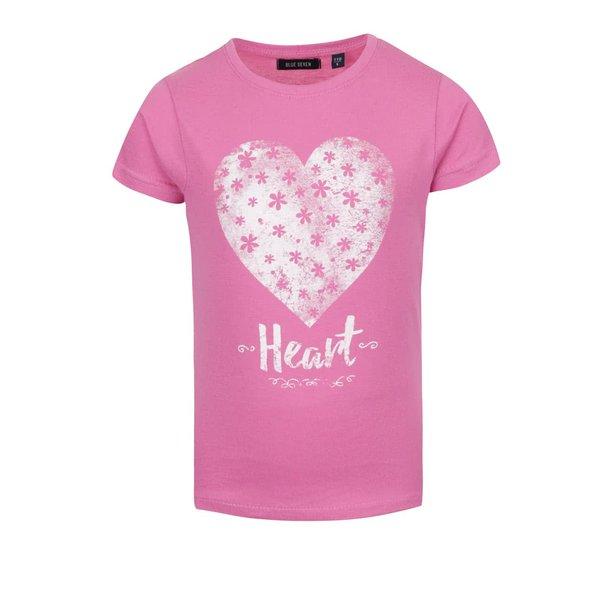 Tricou roz Blue Seven din bumbac cu print pentru fete