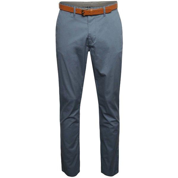 Pantaloni chino grej Selected Homme Hyard cu curea maro