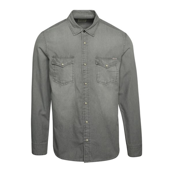 Cămașă gri deschis Jack & Jones Sheridan din denim
