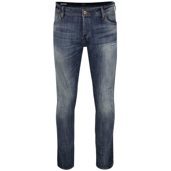 Blugi albaștri Jack & Jones Glenn cu aspect prespălat de la Jack & Jones in categoria Blugi, pantaloni, pantaloni scurți