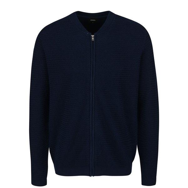 Cardigan albastru închis Burton Menswear London din bumbac cu guler Mao
