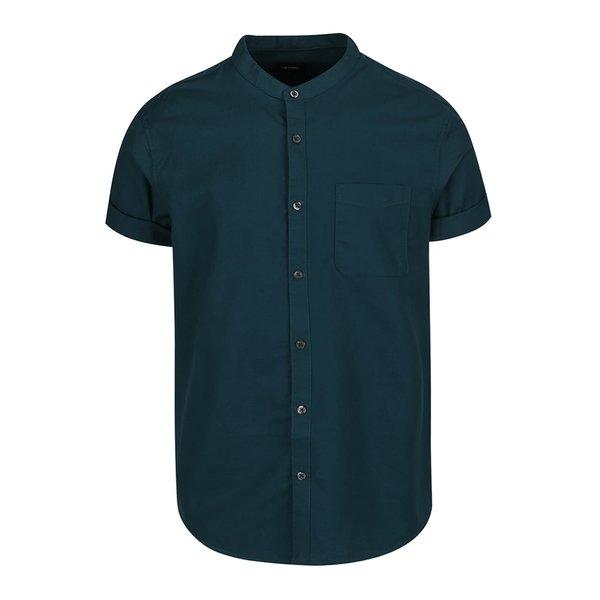 Cămașă verde închis Burton Menswear London din bumbac cu guler tunică și mâneci scurte