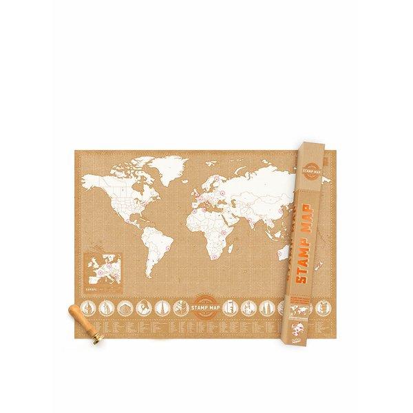 Harta lumii Luckies pentru perete cu ștampile