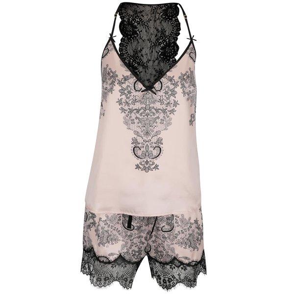 Pijamale roz Lipsy cu dantelă neagră