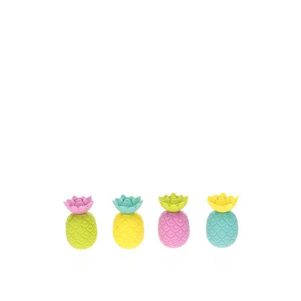 Set de 10 gume de șters multicolore Mustard în formă de ananas