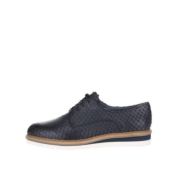 Pantofi bleumarin Tamaris din piele cu model de la Tamaris in categoria pantofi și mocasini