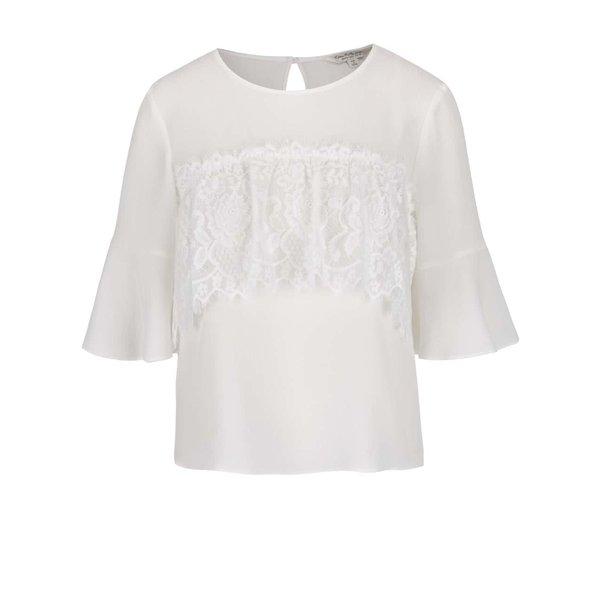 Bluză crem Miss Selfridge cu volan din dantelă