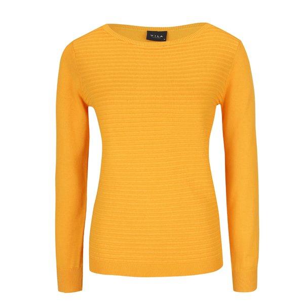 Pulover tricotat galben VILA Sesse din bumbac de la VILA in categoria Pulovere și hanorace