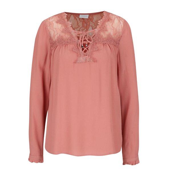 Bluză roz pal VILA Duty cu dantelă