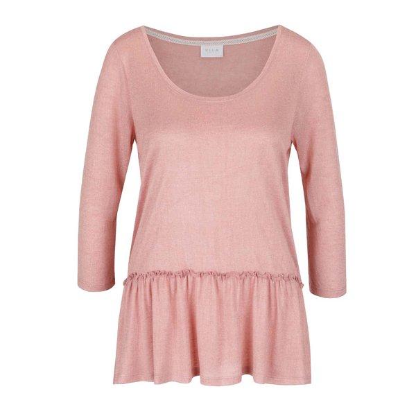 Bluză roz pal VILA Linea cu volane de la VILA in categoria bluze