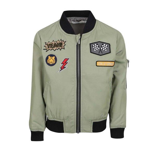 Jachetă bomber verde deschis name it Marten cu aplicații și detalii negre de la name it in categoria Geci, jachete, paltoane