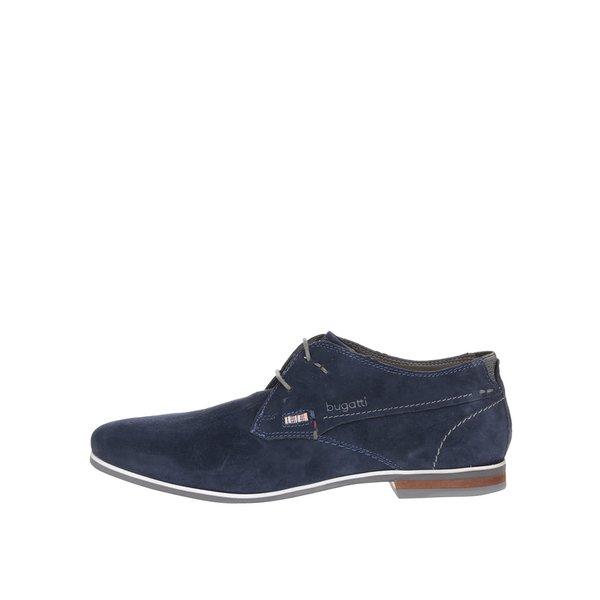 Pantofi bleumarin bugatti Bertoldo din piele întoarsă cu logo de la bugatti in categoria pantofi și mocasini