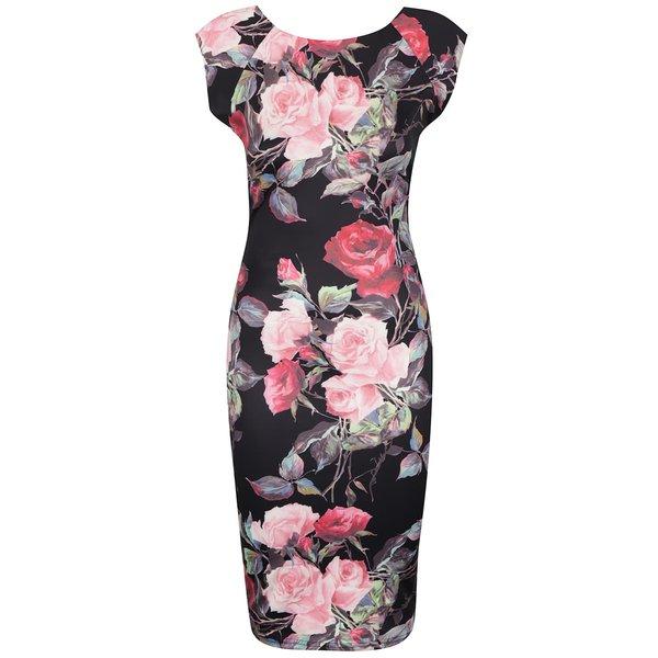 Rochie neagră AX Paris cu model floral de la AX Paris in categoria rochii casual