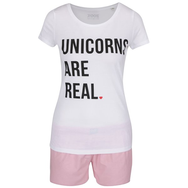Pijamale alb & roz ZOOT Original Unicorns Are Real din bumbac cu print