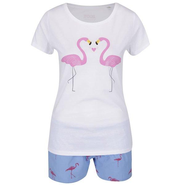 Pijama alb & roz & albastru ZOOT Original Flamingo din bumbac cu print și model de la ZOOT Original in categoria Lenjerie intimă, pijamale, costume de baie