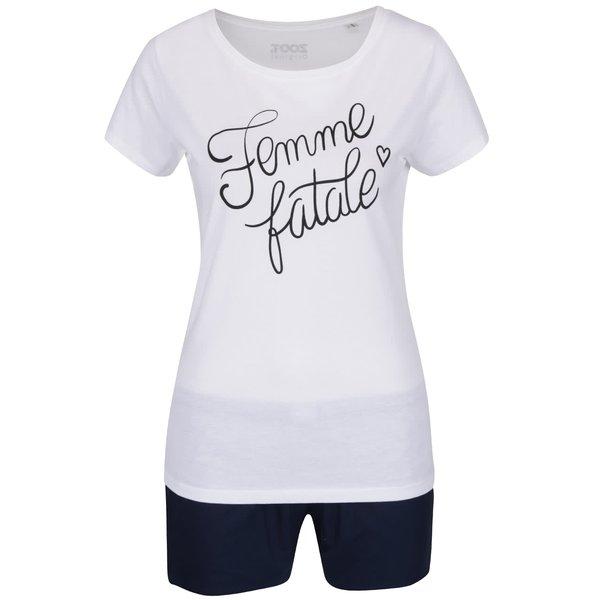 Pijama alb & albastru ZOOT Original Femme fatale din bumbac cu print de la ZOOT Original in categoria Lenjerie intimă, pijamale, costume de baie