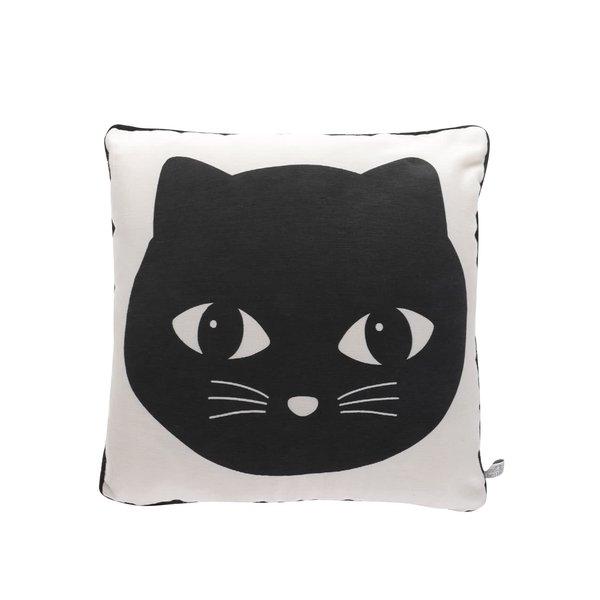 Pernă bej&negru Sass & Belle cu imprimeu pisică de la Sass & Belle in categoria Pentru dormitor și camera de zi