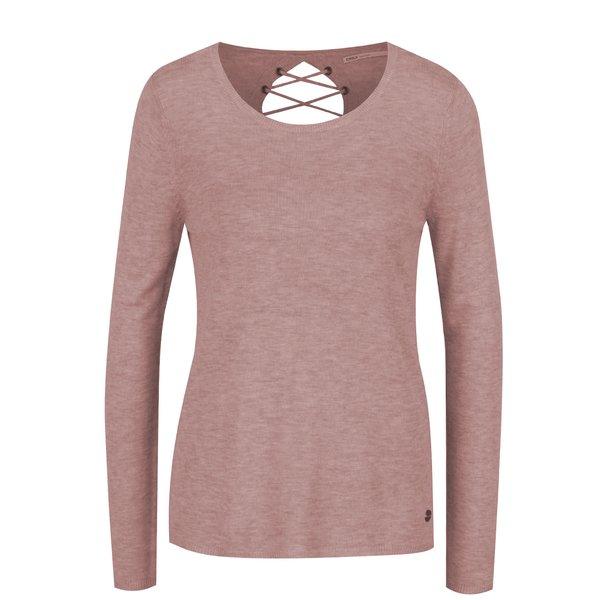 Bluză roz pal ONLY Cosy cu șireturi de la ONLY in categoria Pulovere și hanorace