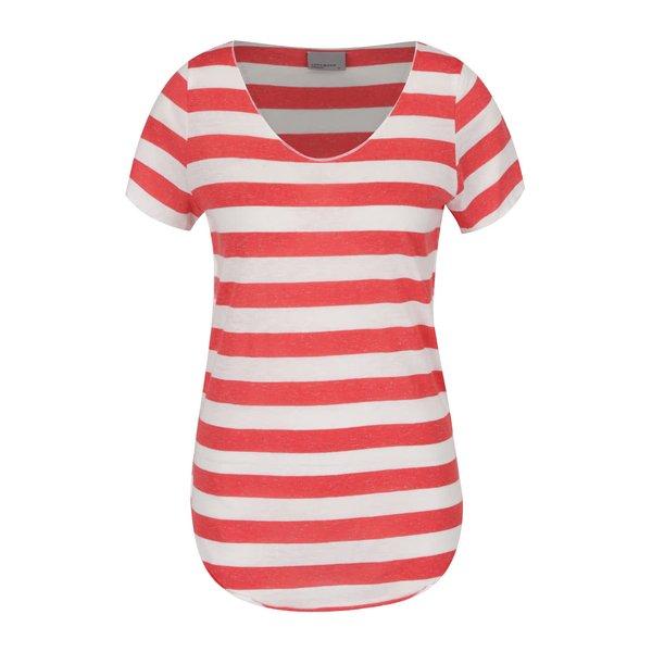 Tricou crem & roșu VERO MODA Lua cu model în dungi orizontale