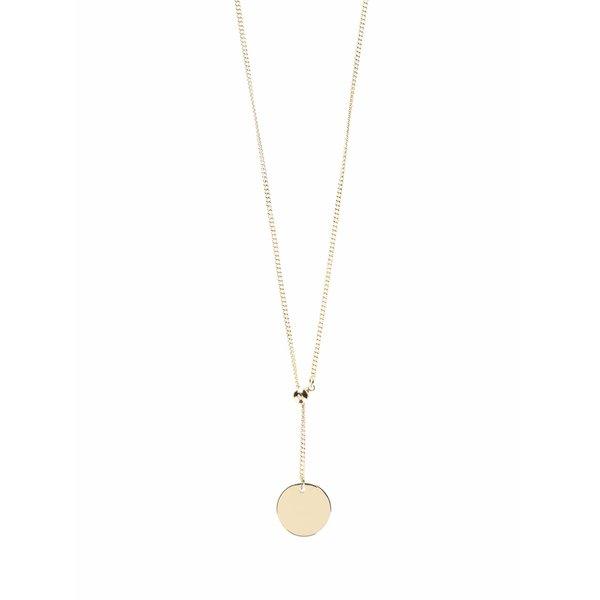 Colier auriu Pieces Margit cu pandantiv rotund
