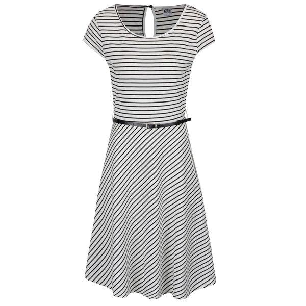 Rochie negru cu alb VERO MODA Vigga cu mânecă scurtă