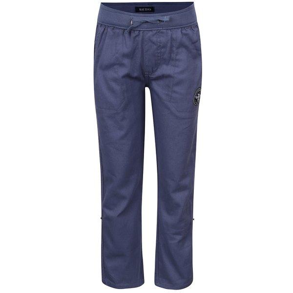 Pantaloni sport albaștri Blue Seven din bumbac cu talie elastică și aplicație de la Blue Seven in categoria Pantaloni, pantaloni scurți
