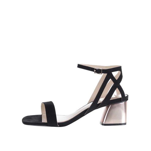 Sandale negre Miss Selfridge cu aspect de piele întoarsă