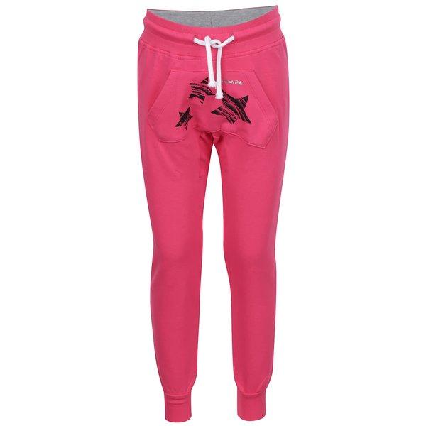 Pantaloni sport roz North Pole Kids cu buzunar Kangaroo și print pentru fete de la North Pole Kids in categoria Pantaloni, pantaloni scurți, colanți