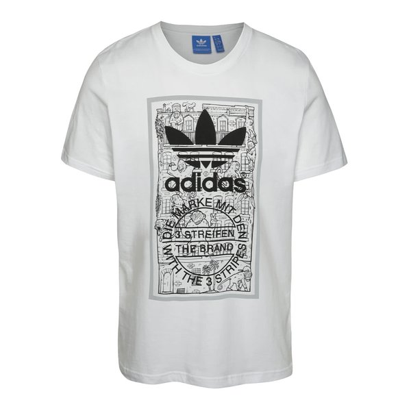 Tricou alb adidas Originals Brick Tongue cu print