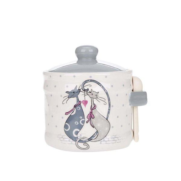 Recipient pentru zahăr crem cu imprimeu Dakls din ceramică