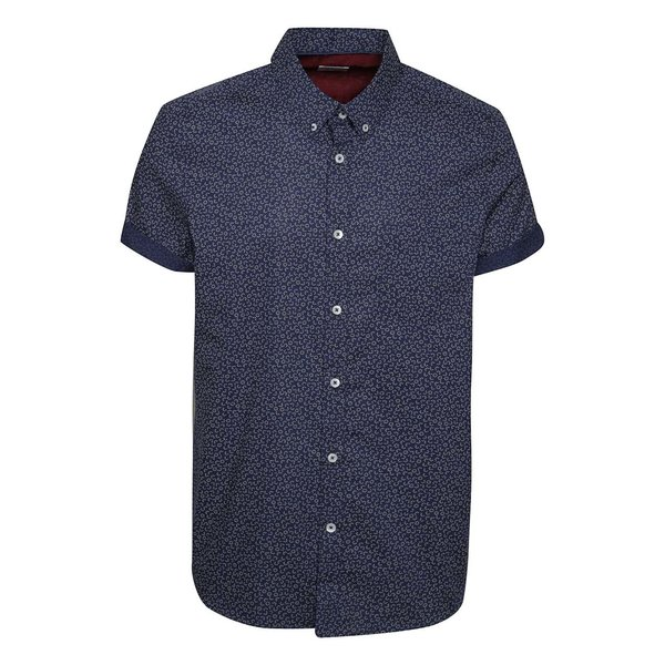 Cămașă albastru închis Burton Menswear London din bumbac cu mâneci scurte și model