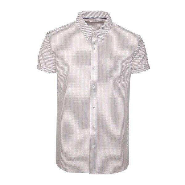 Cămașă alb & vișiniu Burton Menswear London din bumbac cu mâneci scurte și model în dungi