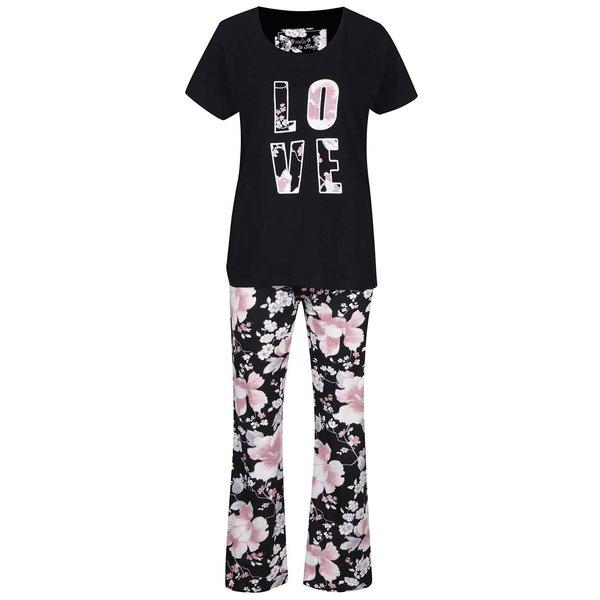 Set pijama neagră cu pantaloni și tricou M&Co cu imprimeu floral de la M&Co in categoria Lenjerie intimă, pijamale, costume de baie