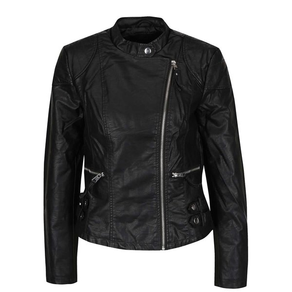 Jachetă neagră VERO MODA Alina din piele sintetică de la VERO MODA in categoria Geci, jachete și sacouri