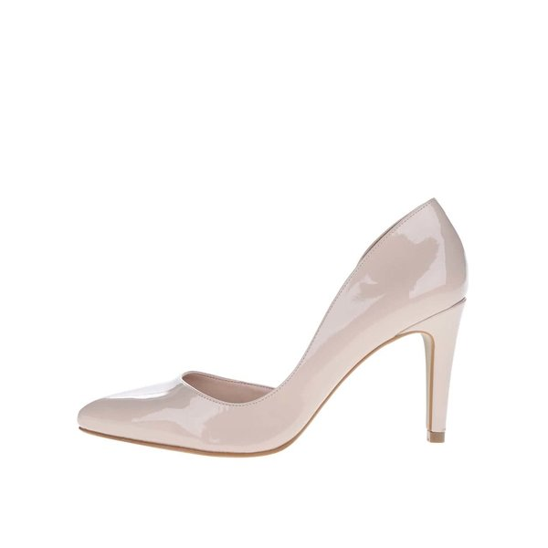 Pantofi stiletto bej OJJU cu aspect lucios