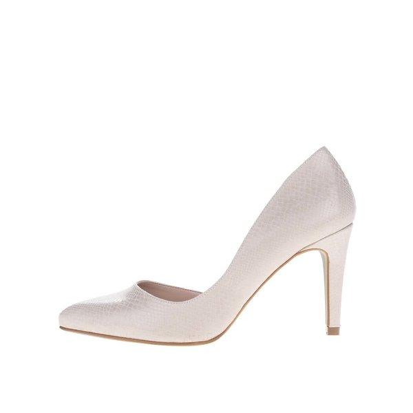 Pantofi bej OJJU cu model piele de șarpe