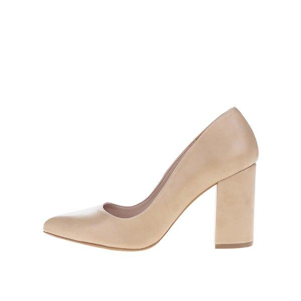 Pantofi bej cu toc OJJU din piele sintetică de la OJJU in categoria pantofi cu toc