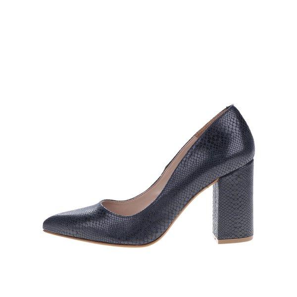 Pantofi albastru închis cu toc OJJU cu model piele de șarpe de la OJJU in categoria pantofi cu toc